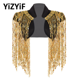 Women dance wear Sparkle Sequin Tassels Cropped Vest for Hip-hop Jazz Dance costumes Stand Collar Sleeveless Open Front Wraps