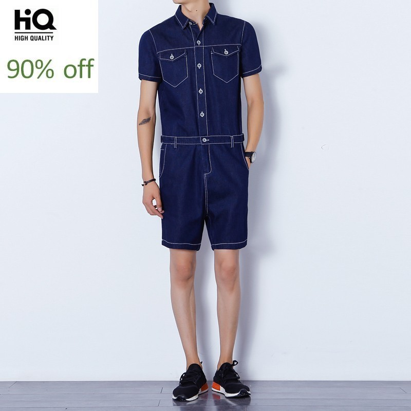Menswear Overalls Summer 2020 Fashion Hot Sale Short Sleeve Regular Pockets Tops Zipper Knee Length Mid Waist Pant Jumpsuits Man