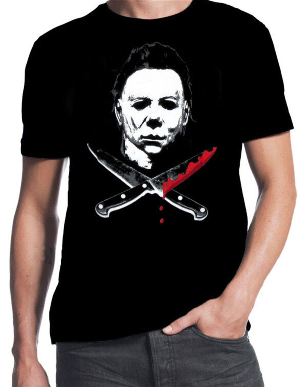 Halloween Michael Myers Classic Horror Slasher Movie Bloody Knives Funny T-Shirt Tee Shirt Personality Custom image