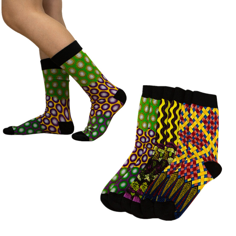 3 Pairs/pack Warm Socks African Print Striped Design Colorful African Socks Leisure Skateboard Socks New Christmas Gift WYB474