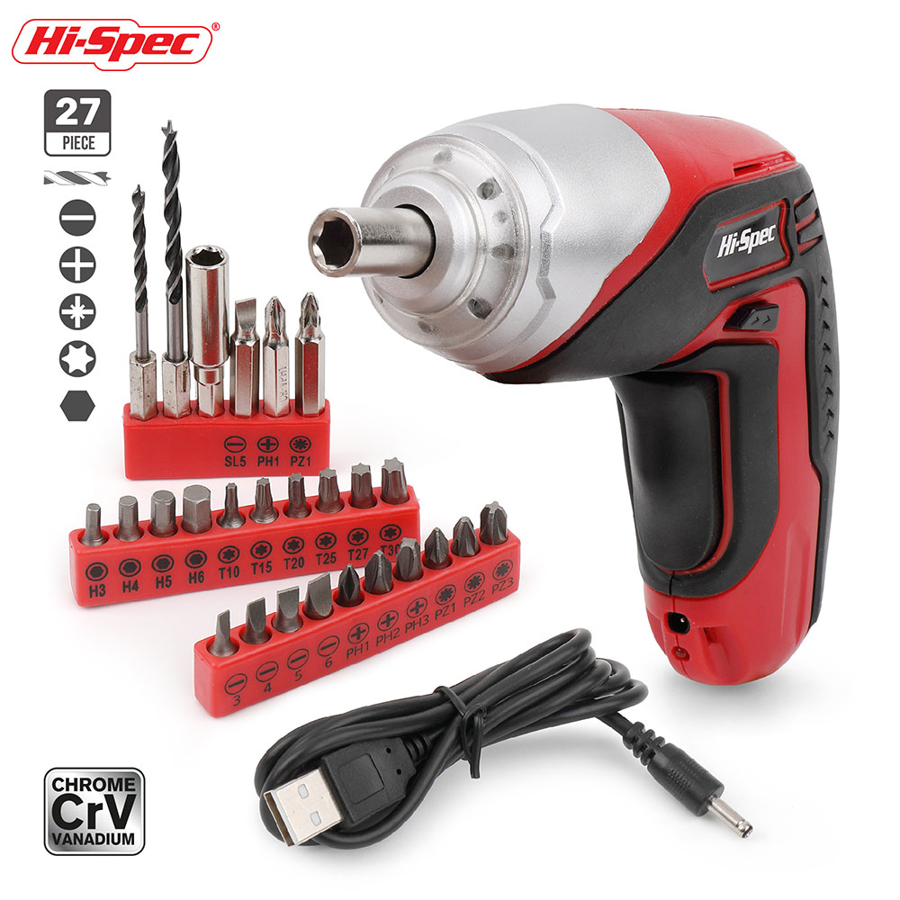 Hi-Spec 27pc 3.6V 1300mAh Li-ion USB 4 Led Cordless Screwdriver Drill Electric Screwdriver Power Tools With Bits Accessory Set