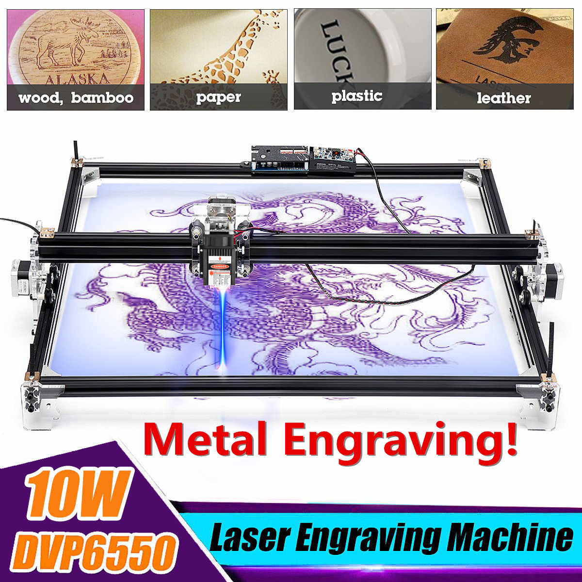 65*55cm Mini 10W Metal /5500MW Blue CNC Laser Engraving Machine 2 Axis 12V DIY Home Engraver Desktop Wood Router/Cutter/Printer