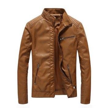 Plus Size 5XL Black Blue Yellow Brown Green Men Motorcycle Biker Pu Leather Jacket Coat Mens Punk Style Leather Jacket For Men