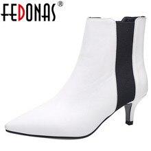 FEDONAS แบรนด์สุภาพสตรีสุภาพสตรีรองเท้าส้นสูง PARTY PROM รองเท้าผู้หญิงฤดูหนาว WARM PLUS ขนาดเชลซีรองเท้าแฟชั่นผู้หญิงรองเท้าข้อเท้า
