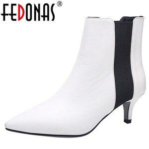 Image 1 - FEDONAS מותג אלגנטי גבירותיי עקבים דקים מסיבת נשף נעלי אישה חורף חם בתוספת גודל צ לסי מגפי אופנה נשים קרסול מגפיים