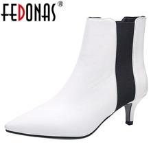 Fedonas ブランドエレガントな女性薄型ハイヒールパーティーウエディングシューズ女性の冬プラスサイズチェルシーの女性のアンクルブーツ