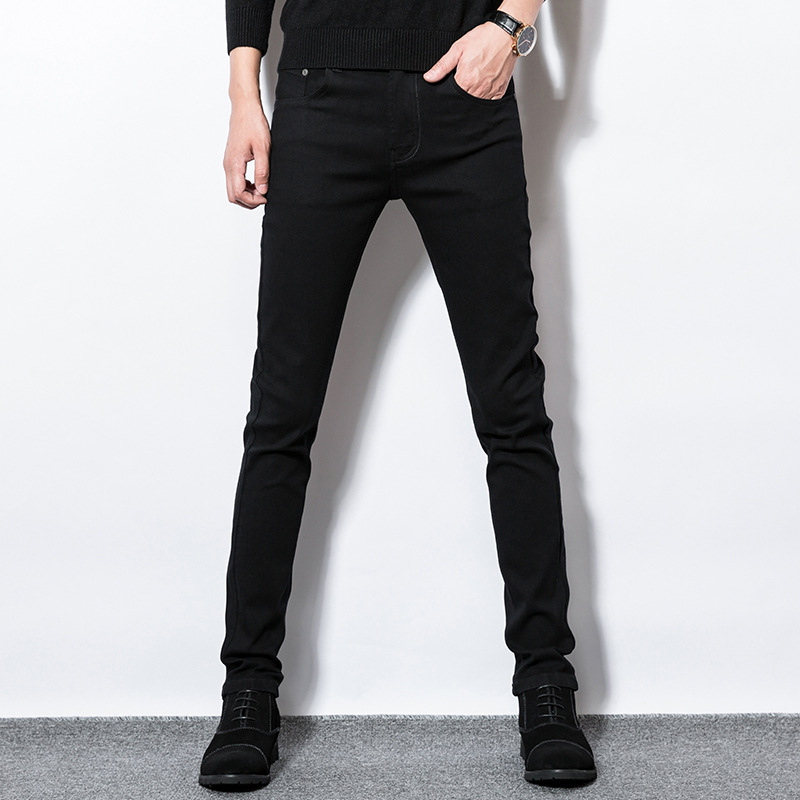 Black Jeans Men's Elasticity Slim Fit Slimming Skinny Pants Men Spring Korean-style Trend Trousers
