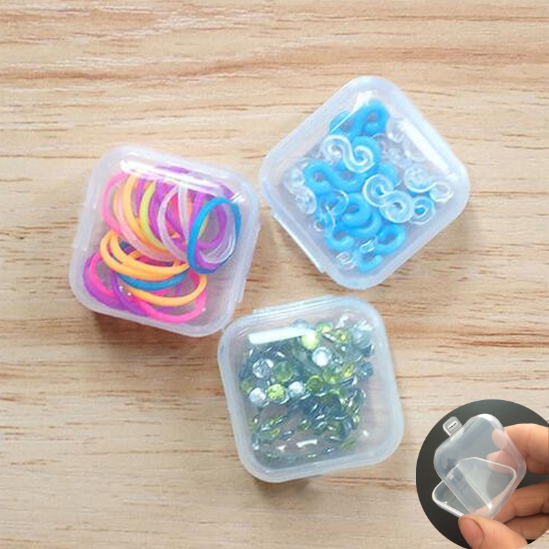 50PCS  Mini Clear Plastic Small Box Hook Jewelry Earplugs Container Storage Box Table Organization Square Box