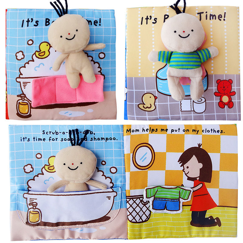 New Early Education Puzzle Cloth Book Teach Bath And Bathroom With Ring Paper Book Baby Story Activity Quiet Books