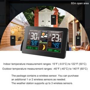 Image 3 - קיר שעון דיגיטלי תחנת מזג אוויר 3 חיישן אלחוטי מקורה חיצוני מדחום מדדי לחות ברומטר תחזית מודרני שעון 40 ℃