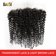 BAISI Hair Peruvian Virgin Hair Curly Lace Frontal 13x4 Free Part Natural Hairline 100% Human Hair(China)