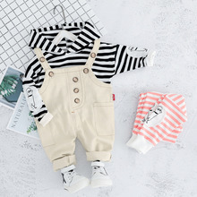 New Autumn Children Clothing Sets Baby Boys Girls Clothes Toddler Suits Infant Hooded T Shirt Strap Pants Kids Leisure Costume ideacherry children clothing sets hooded toddler leisure coats sweatshirt leggings suit for girls clothes pants sports suits