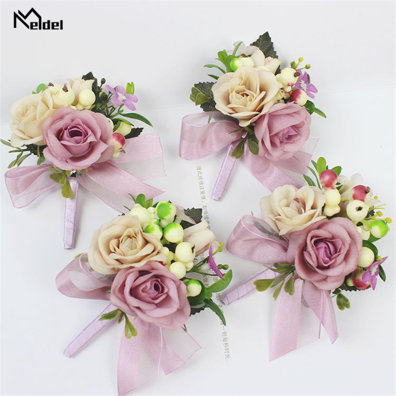 Meldel Bride Wrist Corsage Groom Boutonniere Artificial Silk Rose Flower Plastic Berry Girl Bracelet Men Corsages Wedding Decor