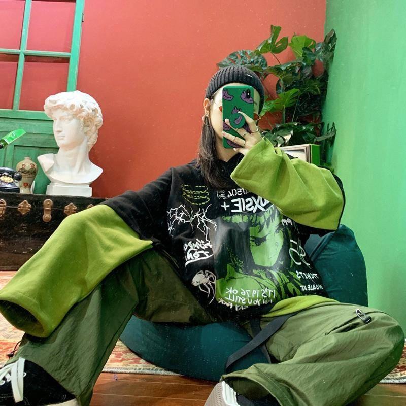 Harajuku Japanese Sweatshirt Women Hoodie Funny Autumn Green Hoodies Long Sleeve Pullover Loose Japan Amine Print Hoodie Females