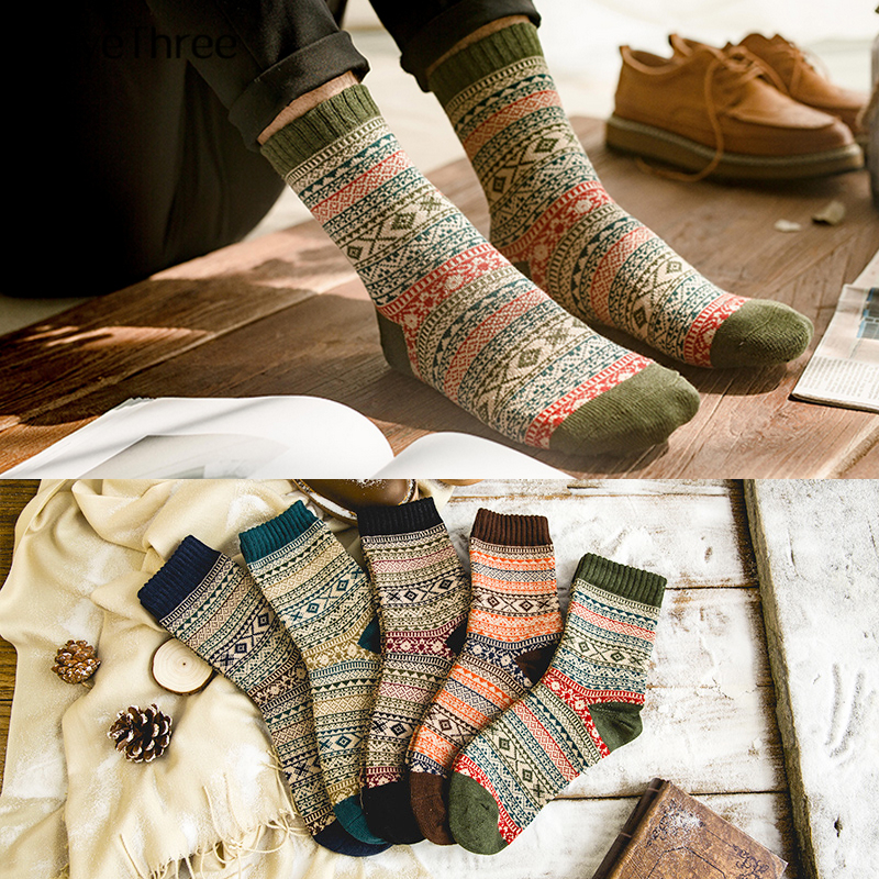 Hot Sell Winter Mens' Warm Thick Wool Sokken Unisex Contrast Color Rhombus Stripes British American Casual Business Sox Dropship