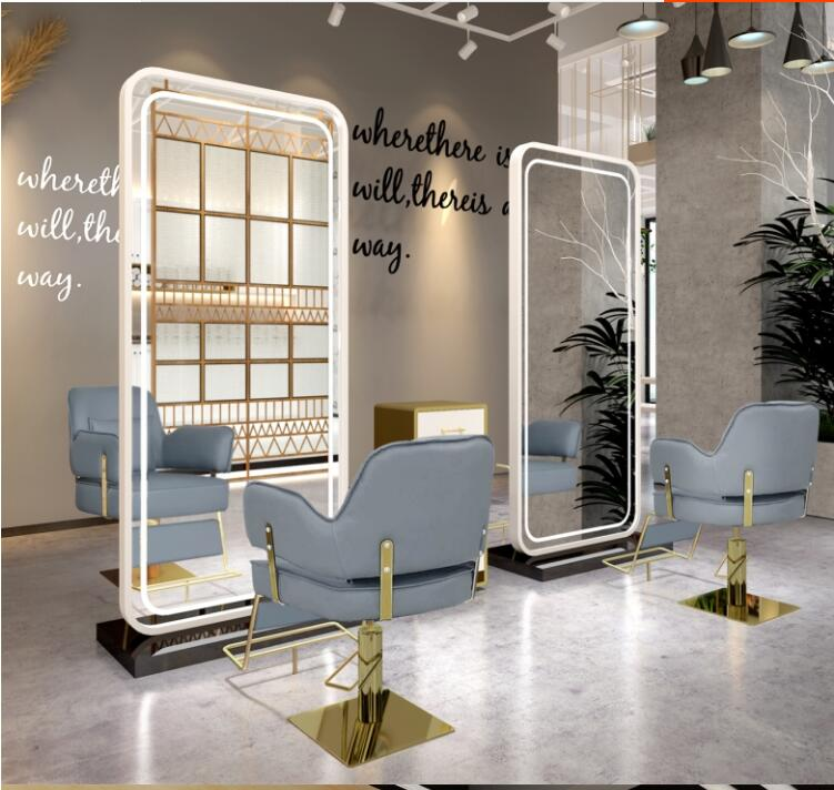 Web Celebrity Barber Shop Mirror Table With LED Lamp Floor Mirror Full Body Mirror Hair Salon Dedicated Hair Salon Mirror Table