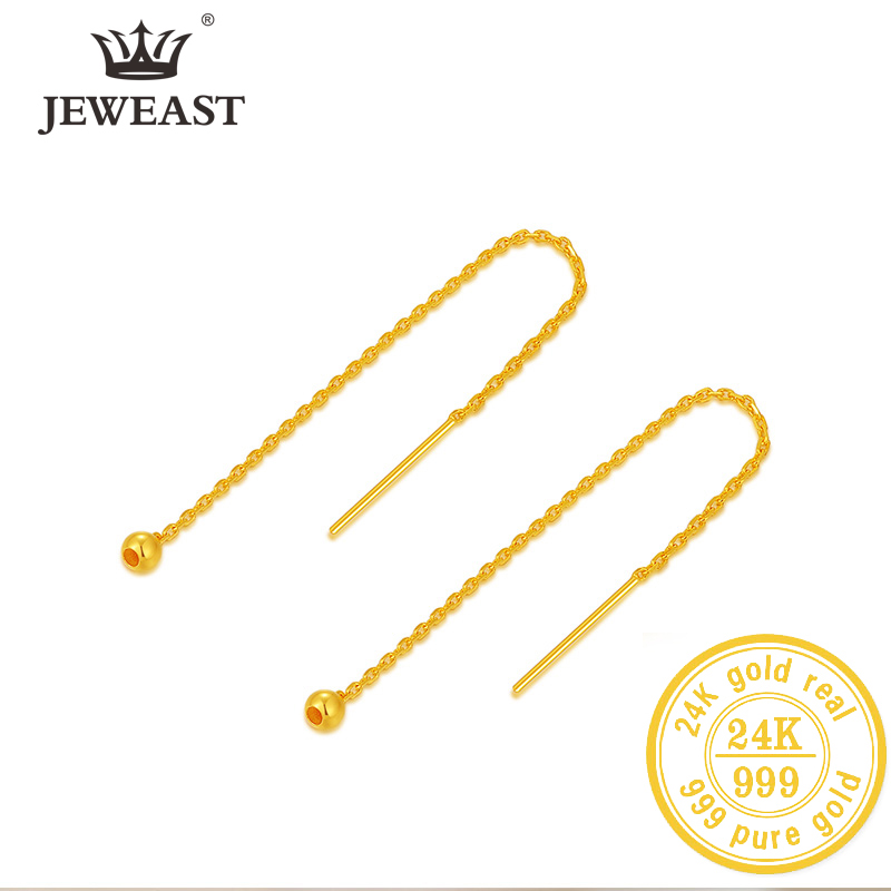 BTSS 24K Pure Gold Earring Real AU 999 Solid Gold Earrings Nice Good  Tassel Upscale Trendy Fine Jewelry Hot Sell New 2020