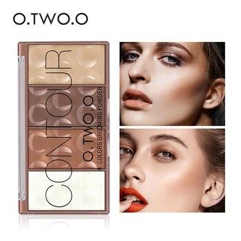 O.TWO.O paleta de Contorno de sombra de cara maquillaje en polvo de aseo 4 colores de larga duración maquillaje de cara contorno bronceador cosméticos