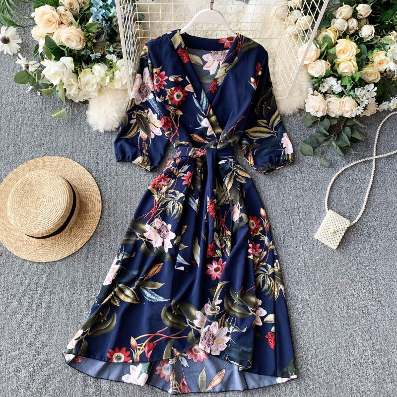 2020 Vintage Slim V Neck Spring Autumn Floral Print Midi Long Irregular Bandage Dress Women 3/4 Sleeve High Waist Elegant Dress