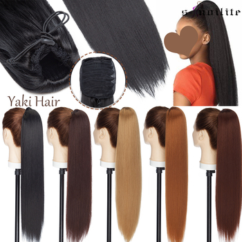 SNOILITE 22inch Yaki Straight Drawstring Ponytail Synthetic Afro Fake Hair Extension Long Clips In Tail For Women - discount item  29% OFF Synthetic Hair
