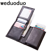 купить Men Rfid Credit Card Holder Sticker Business Card Pocket coin Cash Card Holder Passes Holder Metal Cardholder Protection Wallet дешево