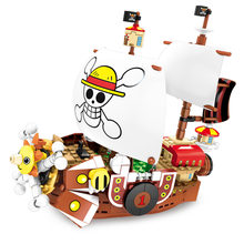 ONE PIECE Monkey D. Luffy Thousand Sunny Anime Pirate Ship Building Blocks Sets Bricks Classic Model Kids Toys(China)