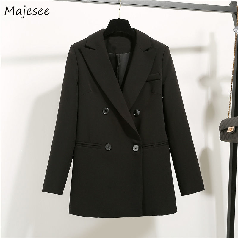 Long Blazer Women Double Breasted Black Vintage Plus Size Korean Fashion Clothing Womens Blazers Harajuku Office Ladies Elegant