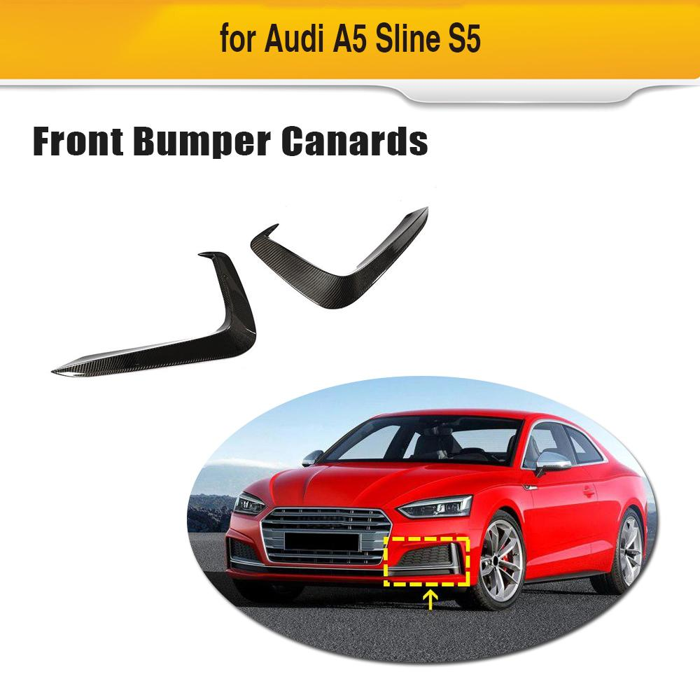 A5 ため S5 車フロントバンパーフォグランプアウディ A5 S5 2017 2018 2019 自動車バンパーフィンカナード炭素繊維/FRP