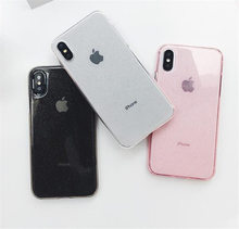 Candy Color Glitter Bling Phone Case For iPhone XS Max XR X 6 6S 7 8 Plus Back Cover Fashion Soft TPU Powder Clear Cases