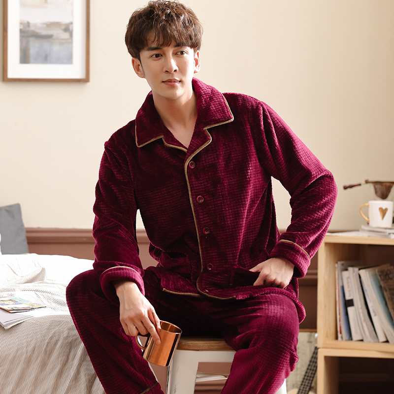 Winter Male Thickening Flannel Lounge Long-sleeve Coral Fleece Sleepwear Plus Size Wedding Red Festive Cardigan Pijamas Hombre