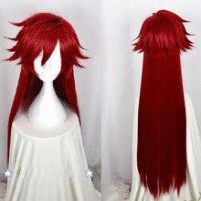Kuroshitsuji mordomo preto grell sutcliff peruca vermelha longa reta resistente ao calor do cabelo cosplay perucas traje + peruca boné