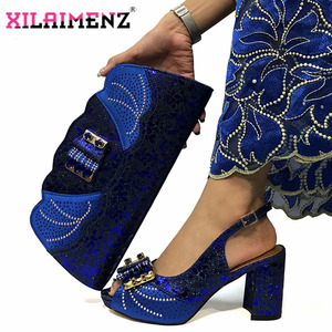 Image 4 - Magenta Color New Design Italian Women Shoes and Bag Set African Matching Shoes and Bag Slingbagck Sandals for Royal Party