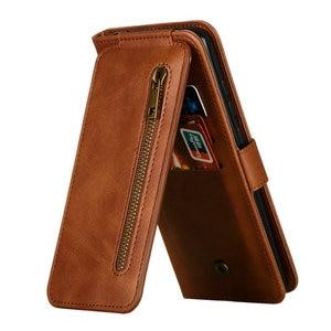 Image 1 - P40Pro P40 Lite P 40 Flip Case Multifunction Zipper Leather Wallet for Huawei P40 Pro Plus Case Card Slot Funda Huawei P40 Cover