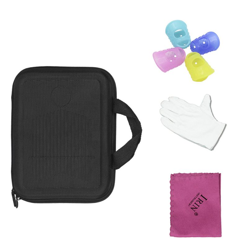 17 Key Kalimba Case Thumb Piano Bag Shockproof Waterproof With Gloves Finger Stall Cleaning Cloth