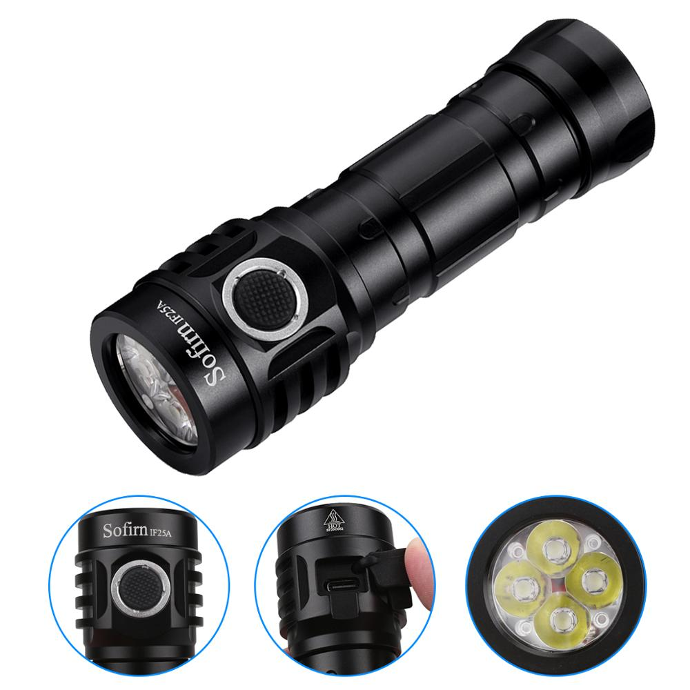 Sofirn IF25A BLF Anduril Powerful USB C Rechargeable LED flashlight 21700 Lamp 4000lm 4 SST20 LED