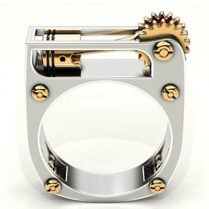 Geometric Mechanical Gear Wheel Ring For Women Men Gold Silver Color Punk Wedding Band Finger Ring Modern Jewelry Party Ring(China)