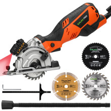 GALAX PRO 600W 4500RPM Mini Circular Saw with Laser, Max. Cutting Depth 28.5mm, 3 Saw Blades 89mm(24T, 44T, Diamond Saw Blade)