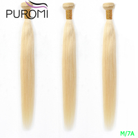 Puromi 613 Honey Blonde 3/4 Malaysian Hair Bundles 100% Straight Weave Remy Human Hair Weft 10 26 Inch Free Shipping