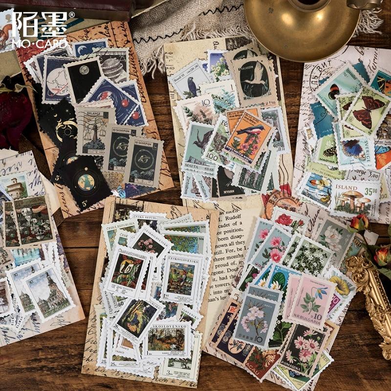 46 pcs/pack Retro Philatelic Museum Series Decorative Stickers Scrapbooking Stick Label Diary Album stationery Stamp Sticker