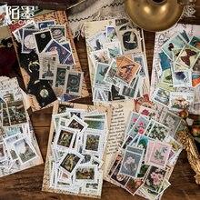 46 unidades/pacote série museu filatélico retro adesivos decorativos scrapbooking vara etiqueta diário álbum papelaria selo adesivo