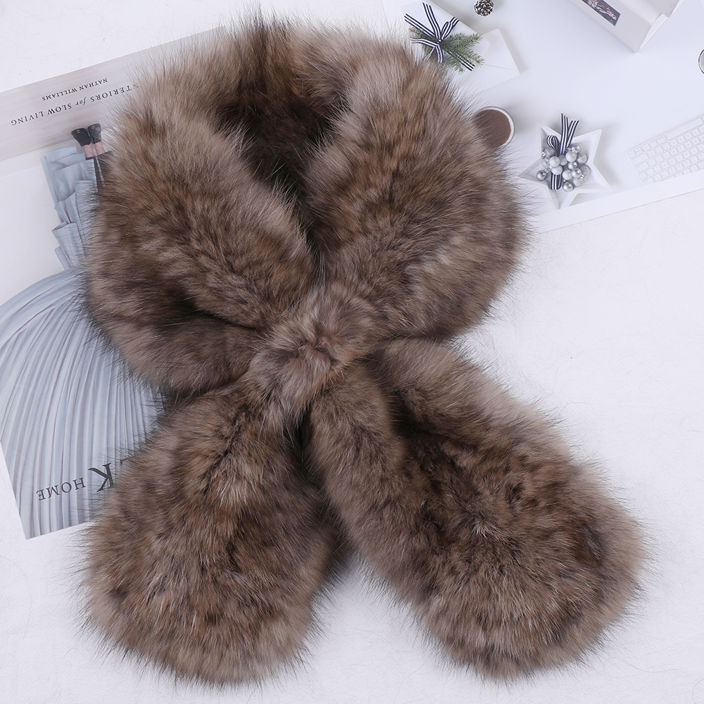 Haute qualité femmes 100% véritable Sable fourrure tricoté écharpe naturelle vison fourrure foulards dame mode hiver enveloppes filles écharpe