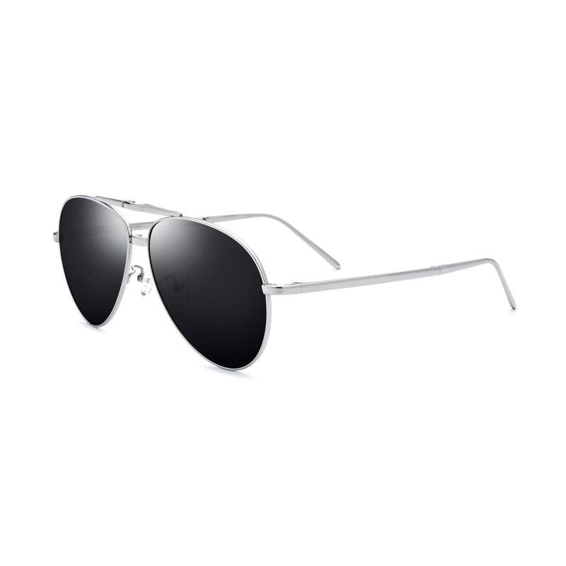Alliage de titane hommes lunettes de soleil polarisées lunettes pliantes cadre argenté lentille noire