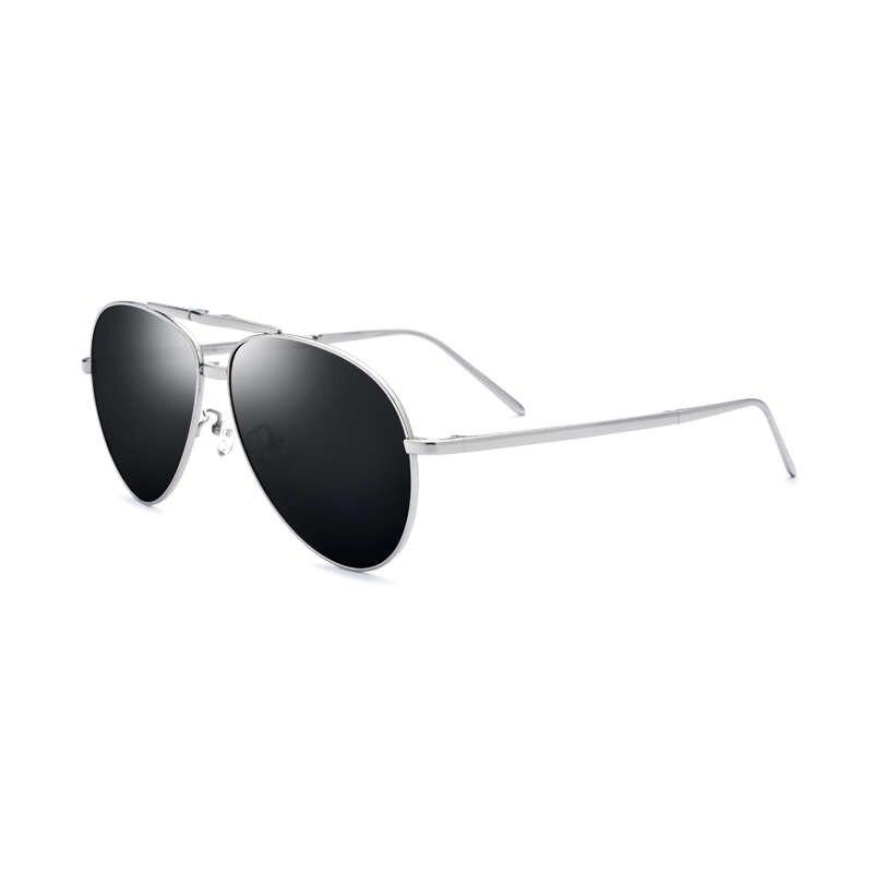 Gafas de sol polarizadas de aleación de titanio para hombre, gafas plegables, montura plateada, lentes negras
