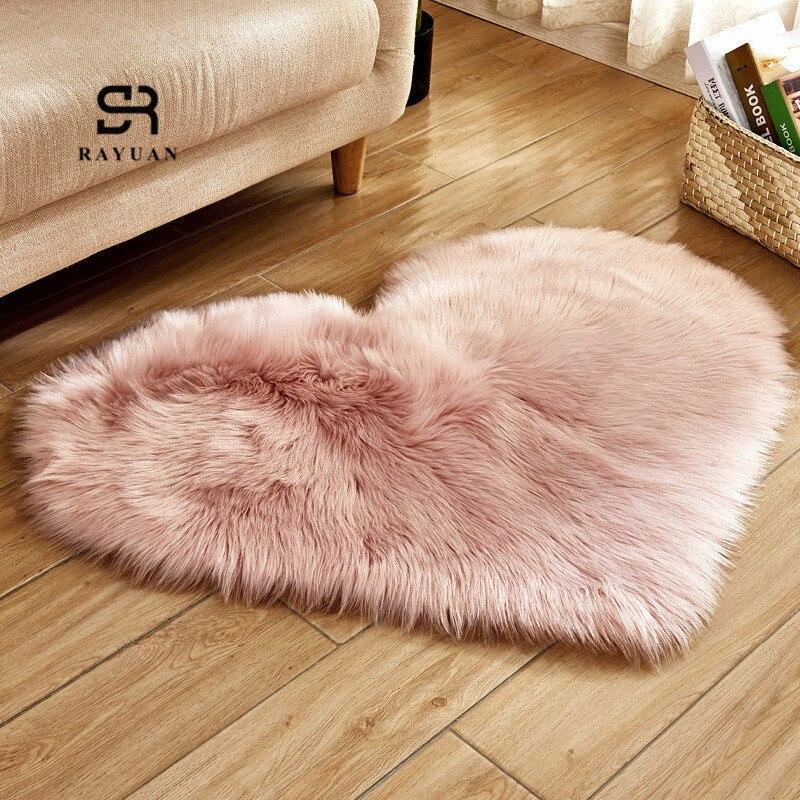 RAYUAN Love Heart Rugs Artificial Wool Sheepskin Hairy Carpet Faux Floor Mat Fur Plain Fluffy Soft Area Rug Tapetes