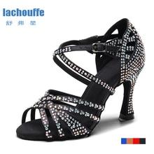 Ladies Latin Ballroom Dance Shoes Red Black Blue Brown Rhineston Latino Dancing Shoes for Children Stain Silk Salsa dance shoes