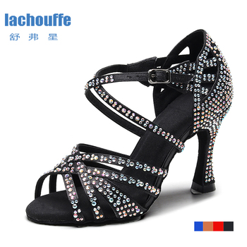 Ladies Latin Ballroom Dance Shoes Red Black Blue Brown Rhineston Latino Dancing Shoes for Children Stain Silk Salsa-dance-shoes sparkle glitter woman girl dance dancing latin raks sharki belly ball prom shoes silver gold blue red brown black leather sole