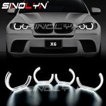 Sinolyn DTM Ángel ojos LED para BMW X6 E71 E72 X6M 2008-2014 xenón faro DRL Halo M4 estilo de luz de señal de giro Kit de accesorios