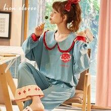 Женские пижамные комплекты осенняя домашняя пижама с длинными
