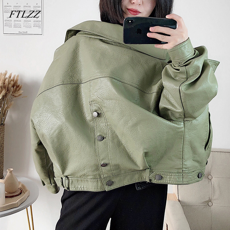 FTLZZ New Autumn Women Faux Leather Jacket Vintage Boyfriend Style Coat Batwing Sleeve Short Motor PU Jackets Biker Outwear