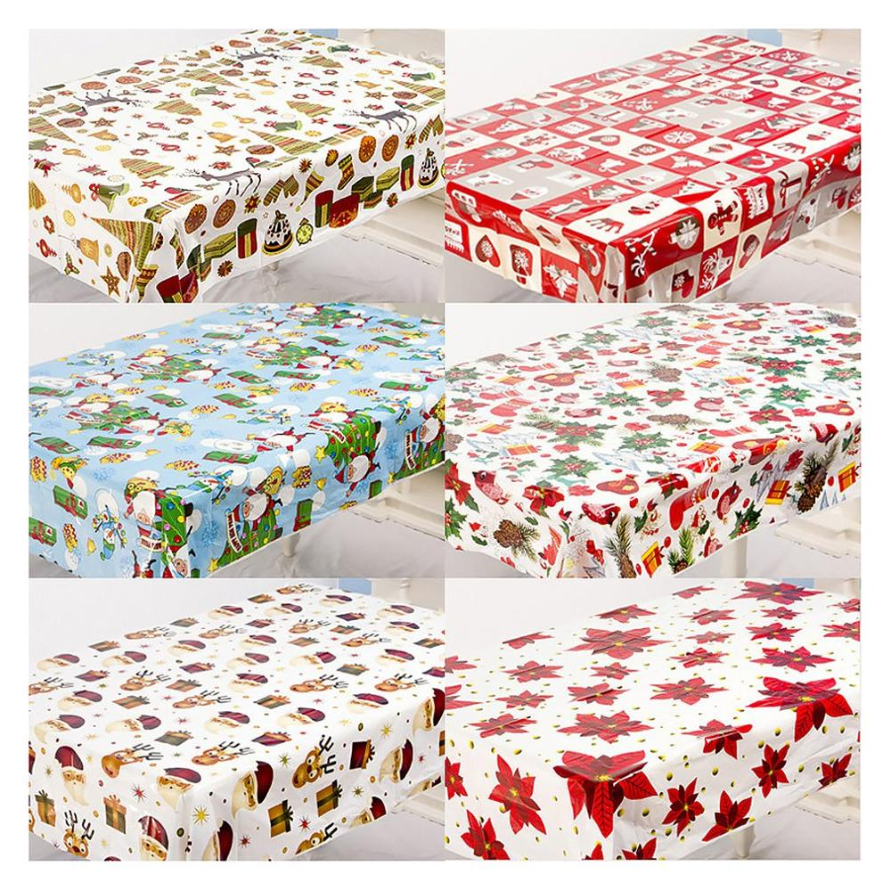 1pcs 110*180cm Christmas Table Cloth Dinner Party New Year Printed Rectangle PVC Tablecloth Christmas Table Cover Decorations